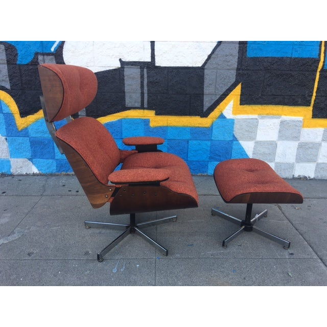 Mid-Century Lounge Chair & Ottoman - Image 3 of 5