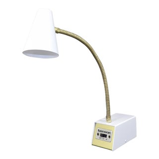 Mid Century Modern White Gooseneck Adjustable Desk Lamp For Sale