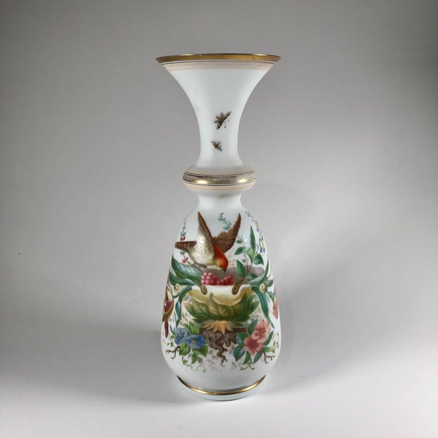 19th Century French Hand-Painted Opaline Glass Vase For Sale - Image 9 of 9