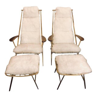 Hollywood Regency Style Fur Lounge or Chaise Chairs and Ottomans - a Pair For Sale