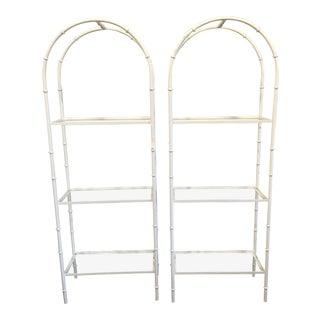 Vintage Metal Bamboo Shelves - A Pair