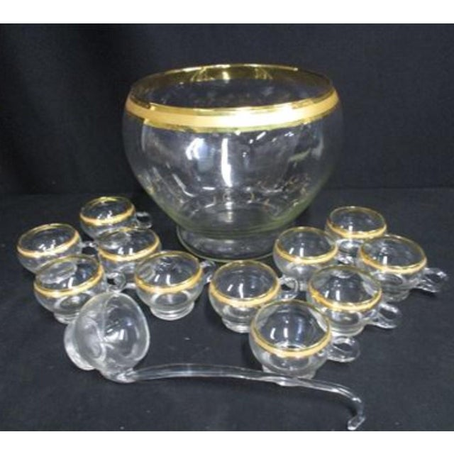 Mid 20th Century Dorothy Thorpe Style Gold Glass Punch Bowl Set For Sale - Image 5 of 5