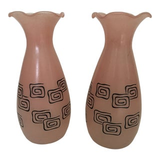 Retro 1950s Americana Pink Frosted Glass Vases - a Pair For Sale