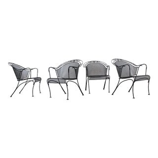Set of 4 Mid-Century Modern Woodard Iron Curve Back Outdoor Arm Chairs For Sale