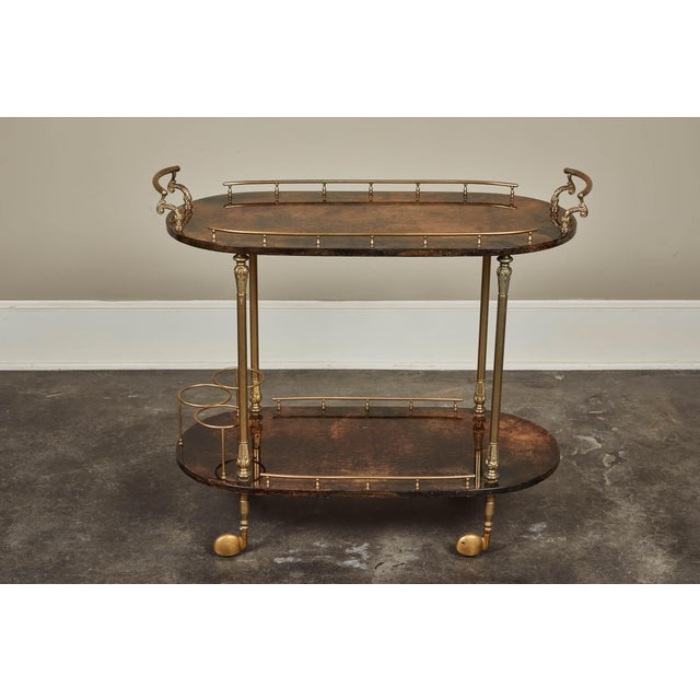 Gold 1950's Aldo Tura Parchment Bar Cart Trolley For Sale - Image 8 of 9