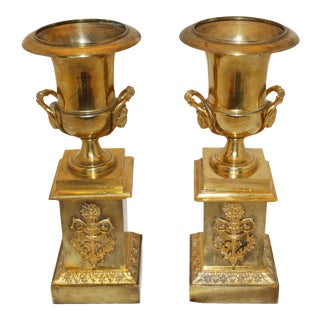 Mid 19th Century French 2nd Empire Bronze Mantle Urns - a Pair For Sale