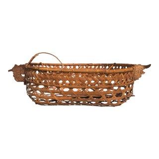 Vintage Bohemian Woven Wicker/Rattan Hanging Basket For Sale