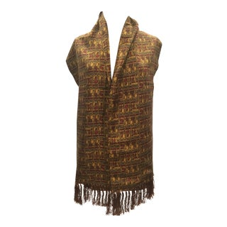 Beautiful Two-Ply Ferragamo Oblong Fringed Silk Scarf For Sale
