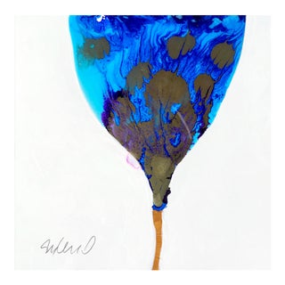 """Original Poured Resin """"Blue to Blue"""" Botanical Painting For Sale"""