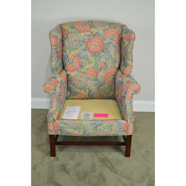 Southwood Chippendale Style Mahogany Frame Floral Upholstered Pair of Wing Chairs For Sale - Image 11 of 13