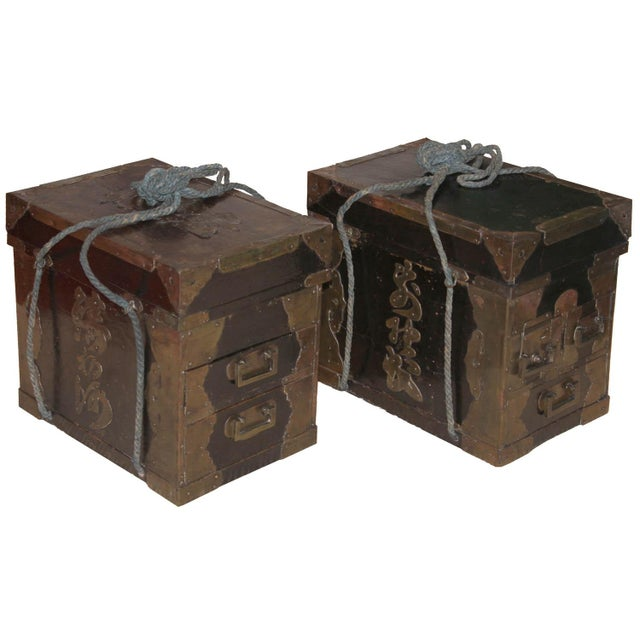 Pair of Japanese black lacquer medicine boxes with copper lettering of the owner, Seinsuke. Medicine salesman would carry...