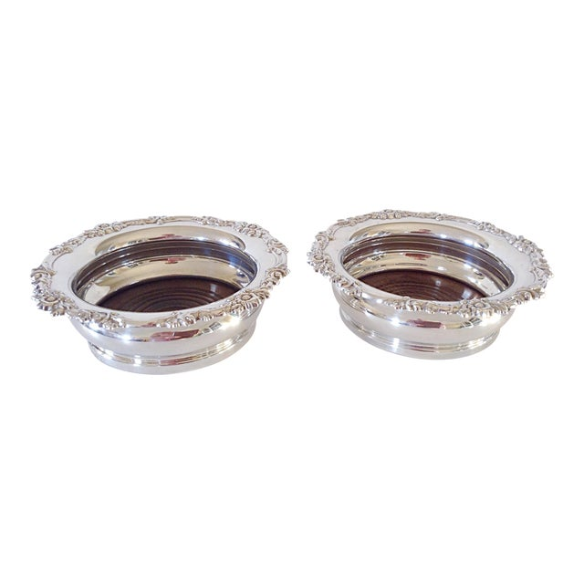 English Sterling Wine Coasters - Pair For Sale