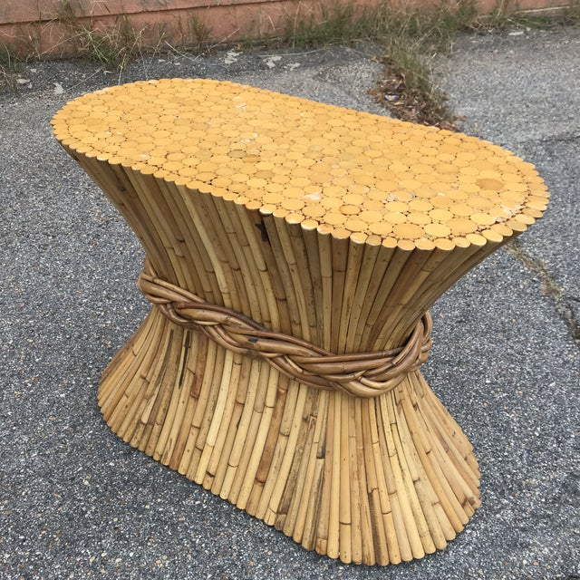 Boho Chic Rattan Console Table by McGuire For Sale - Image 3 of 9