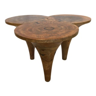 Contemporary Triple Cone Shaped Wooden Coffee Table For Sale