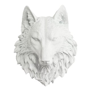 Wall Charmers White Faux Wolf Head For Sale