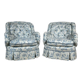 Custom Tufted Barrel Back Chairs - A Pair