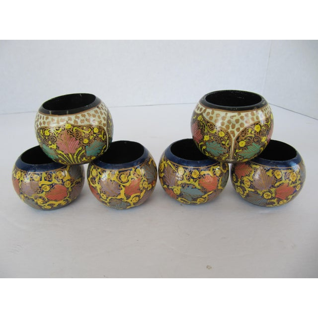Mixed Painted Indian Design Napkin Rings - 6 Pieces For Sale - Image 4 of 7