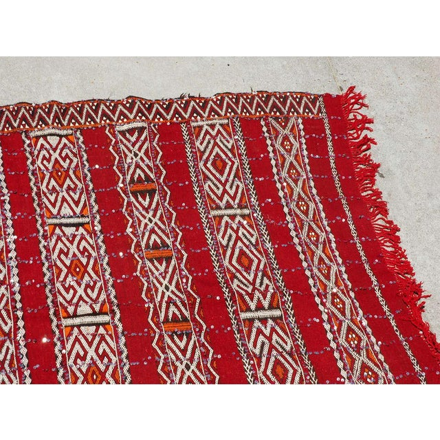 Folk Art Moroccan Tribal Wedding Rug With Sequins North Africa For Sale - Image 3 of 9