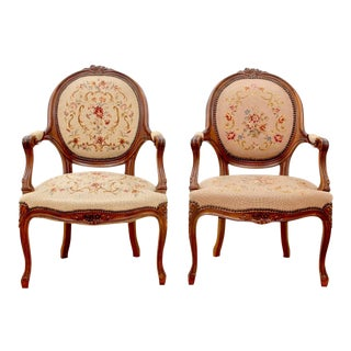 """1980s Vintage """"Sister"""" Needlepoint Bergere Chairs- A Pair For Sale"""