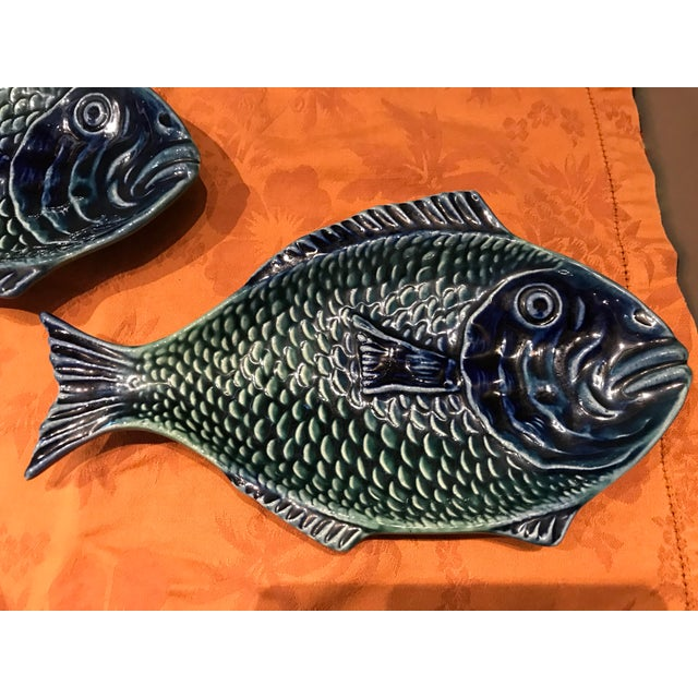 Boho Chic Vintage Olfaire Majolica Ceramic Fish Serving Dishes - Set of 5 For Sale - Image 3 of 11