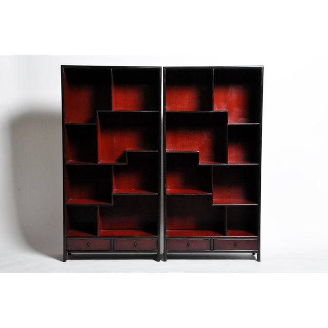 Pair of Chinese Scholar's Display Cabinet For Sale - Image 13 of 13