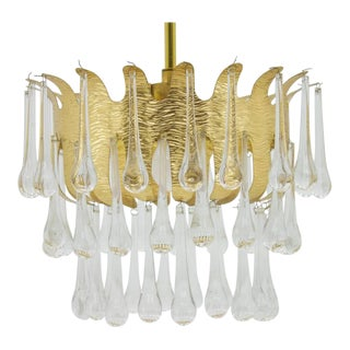 Ernst Palme Glass and Gilded Brass Chandelier for Palme, Germany 1960s For Sale