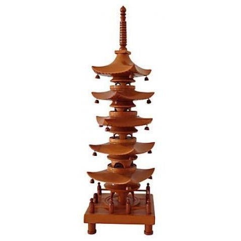 1940 Carved Wood Pagoda Sculpture For Sale