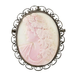 Victorian Silver & Carved Conch Shell Bachhus Cameo Brooch For Sale