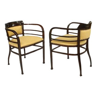 Austrian Bentwood Upholstered Arm Chairs, Pair For Sale