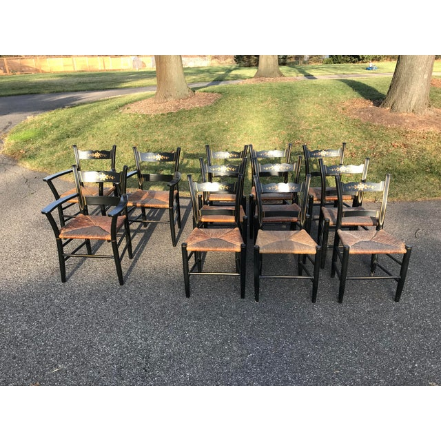 Vintage Black and Caned Hitchcock Chairs - Set of 12 For Sale - Image 11 of 11