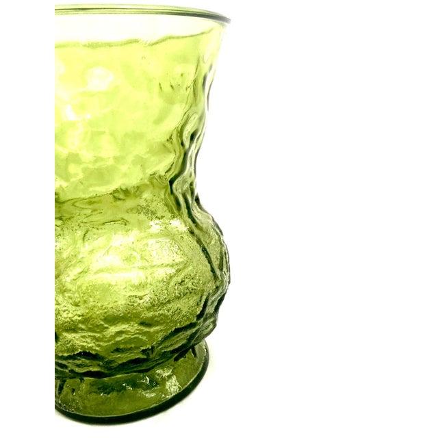 Vintage Textured Green Glass Vase - Image 3 of 5