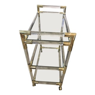 Glass & Gold Plated Bar Cart For Sale