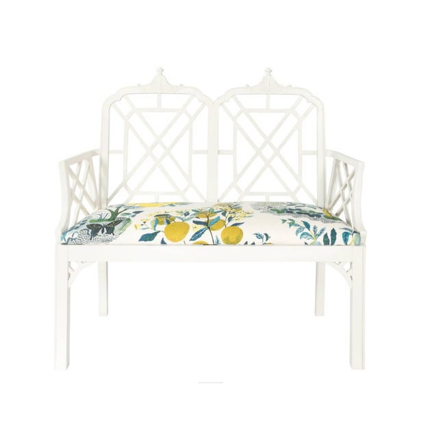 White Chinoiserie Pagoda Motif Newly Upholstered Settee For Sale - Image 11 of 11
