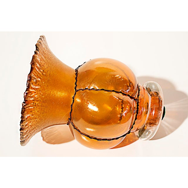 L.C. Tiffany Style Amber Fluted Vase with Wire Wrap - Image 4 of 5
