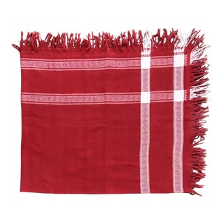 Antique Turkish Red & White Linen Damask Fringed Tablecloth For Sale