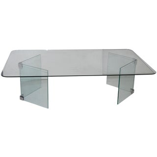 Pace Hollywood Regency Glass Coffee Table For Sale