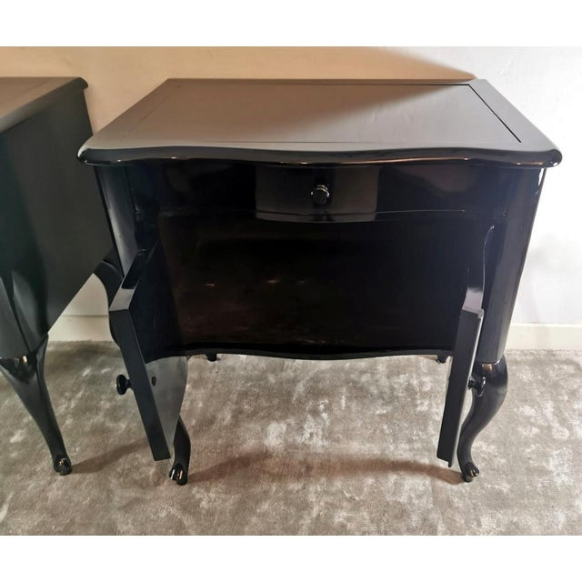 Edwardian Black Mahogany Nightstands - a Pair For Sale - Image 6 of 13
