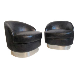 Black Leather Club Chairs For Sale