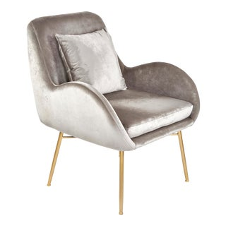 New Modern Gray Velvet Accent Chair For Sale