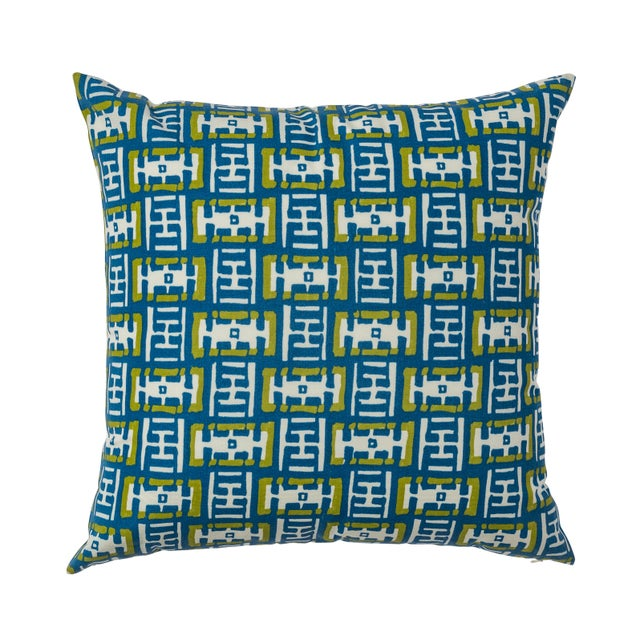 Contemporary Ferrick Mason Mr. Rowe Outdoor - Custom Green Blue Pillow For Sale - Image 4 of 4