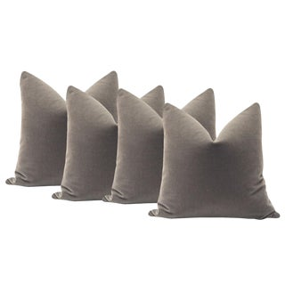 "22"" Mohair Velvet Pillows in Gray - Set of 4"