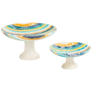 1960s Italian Striped Alabaster Compotes For Sale