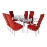 Image of 1960s Mid Century Modern Lucite and Red Upholstered Dining Set - 7 Pieces For Sale