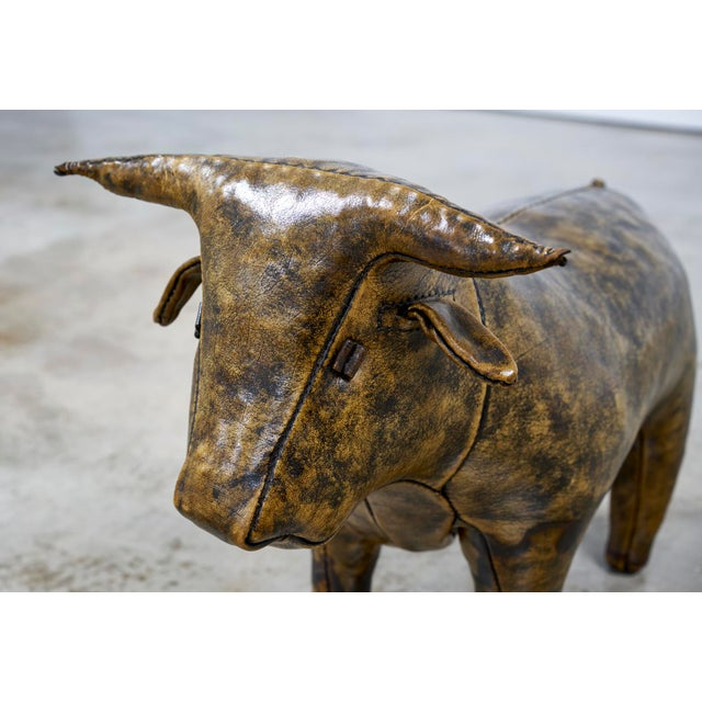 Leather Abercrombie and Fitch Leather Bull Ottoman by Omersa, 1960s For Sale - Image 7 of 8
