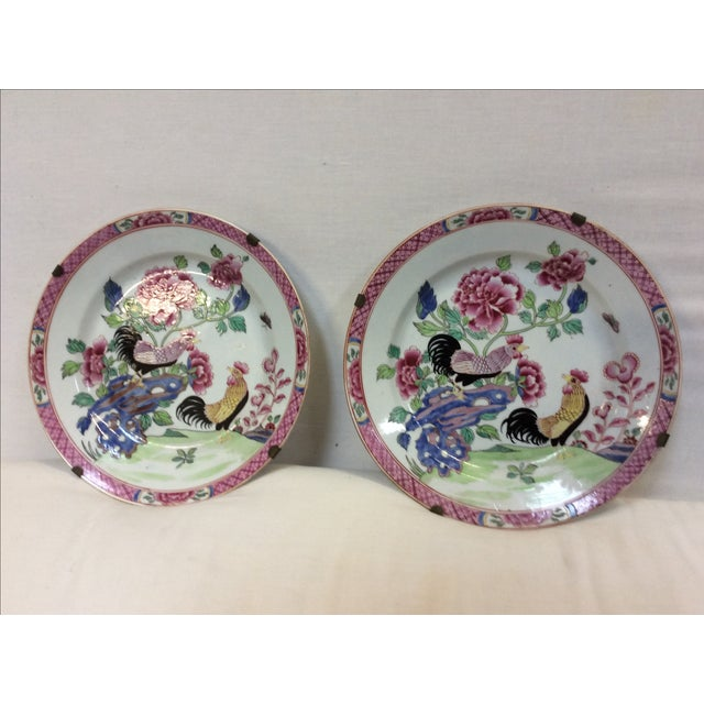 Pair of Chinese Export Style Antique Rooster Plates Possibly French - Image 2 of 8