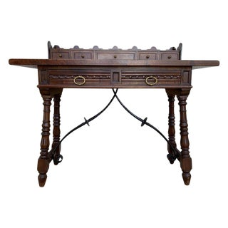 Catalan Spanish Lady Desk or Console Tablein Carved Walnut and Iron Stretcher For Sale