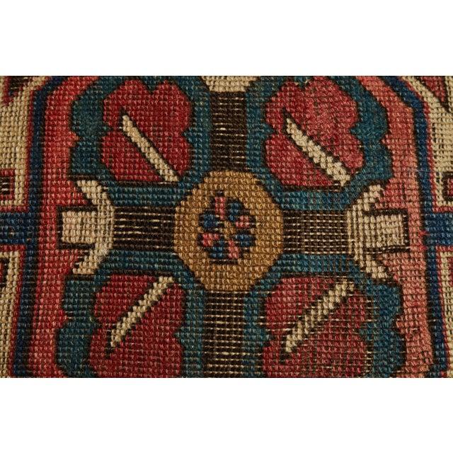 Primitive Antique Kazak Carpet Pillow For Sale - Image 3 of 8