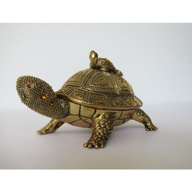 Greek Key Gilt Brass Bejeweled Turtle Lidded Keepsake Box, Letter Opener & Magnifier Set in One - 3 Pieces For Sale In West Palm - Image 6 of 13