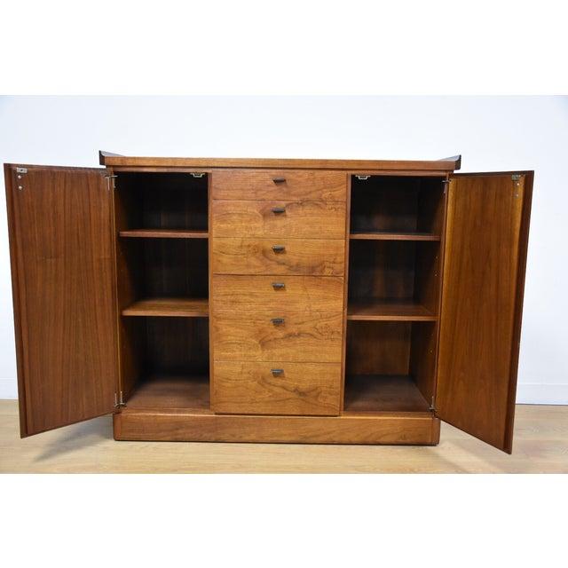 Walnut and Black Vinyl Armoire Dresser - Image 3 of 11
