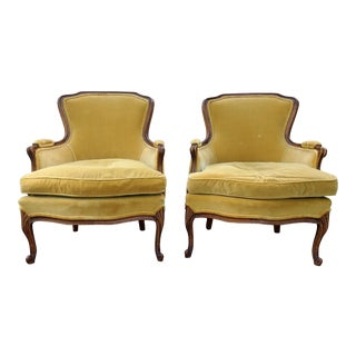 Vintage Meyer Gunther Martini Louis XV Carved Hardwood Bergere French Chairs- a Pair For Sale